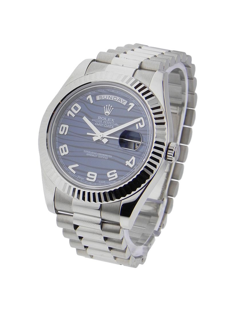 Rolex Unworn Day Date II President in White Gold with Fluted Bezel