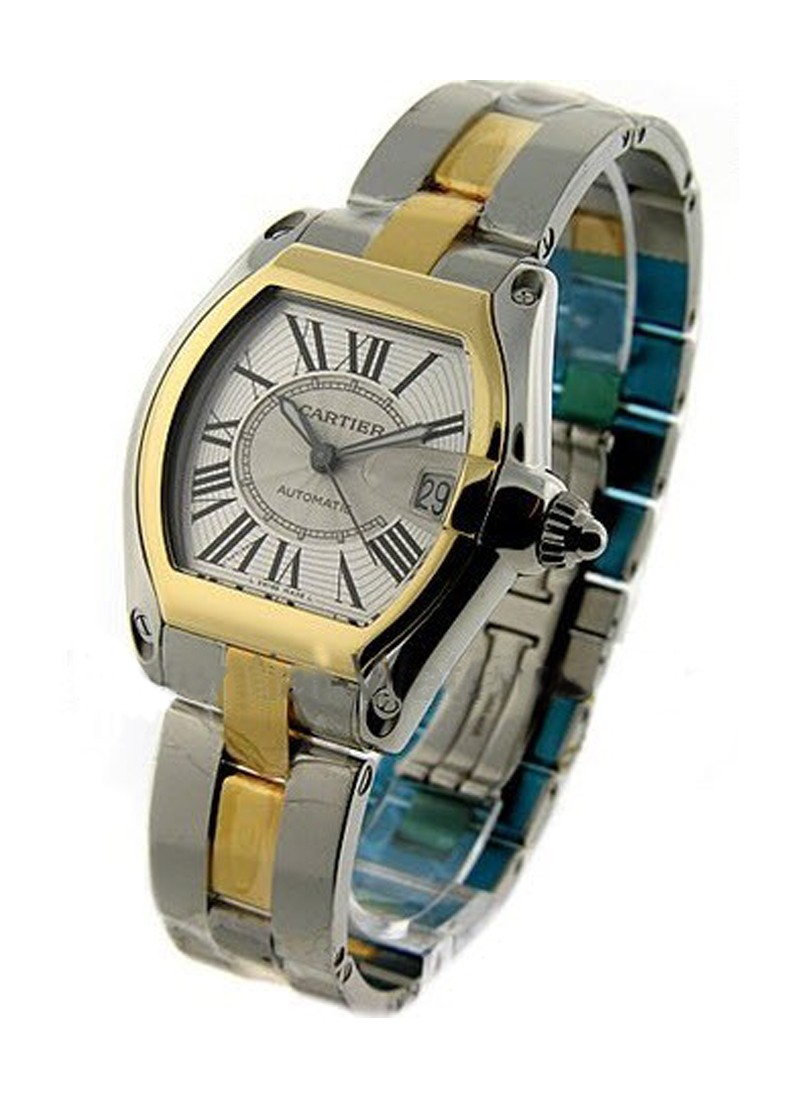 Cartier Roadster 2 Tone in Steel with Yellow Gold Bezel