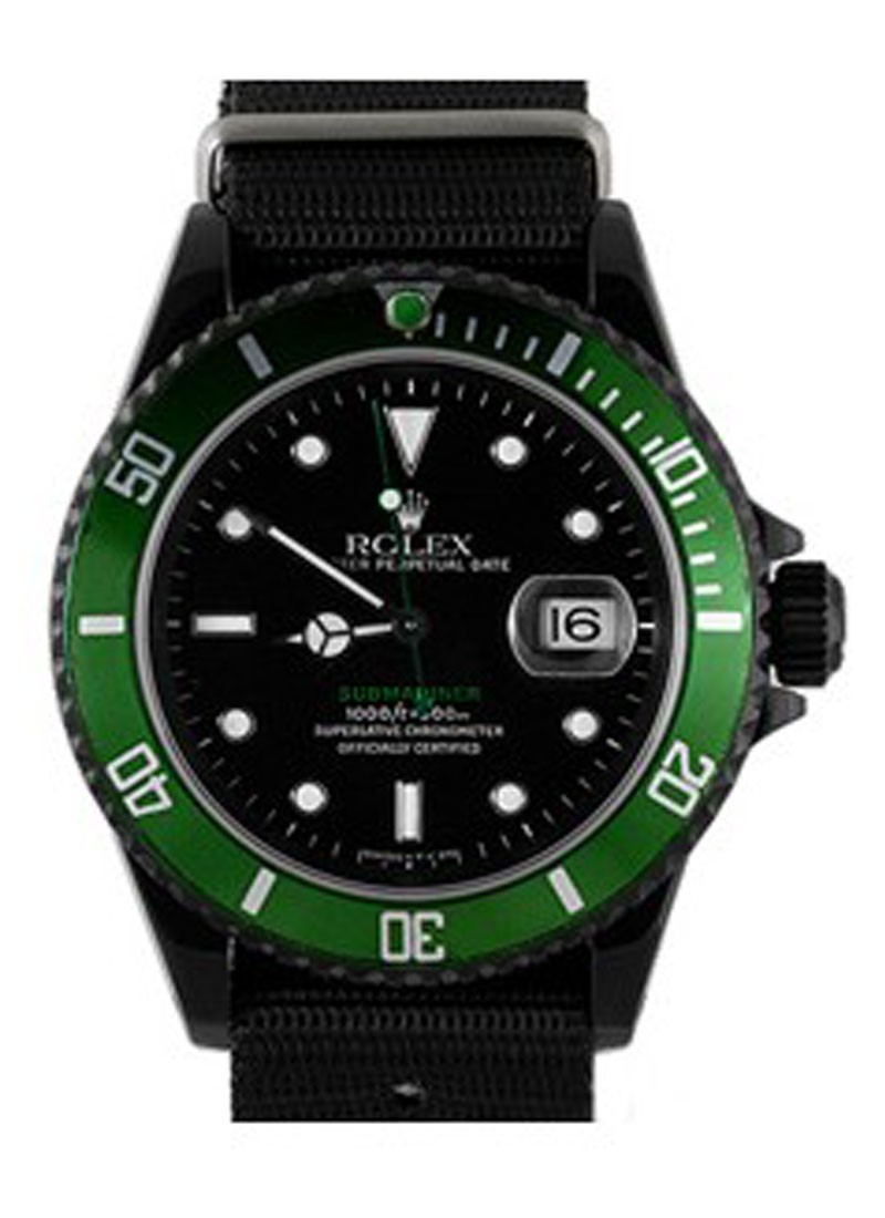Submariner Date 40mm in Black DLC Steel with Green Bezel