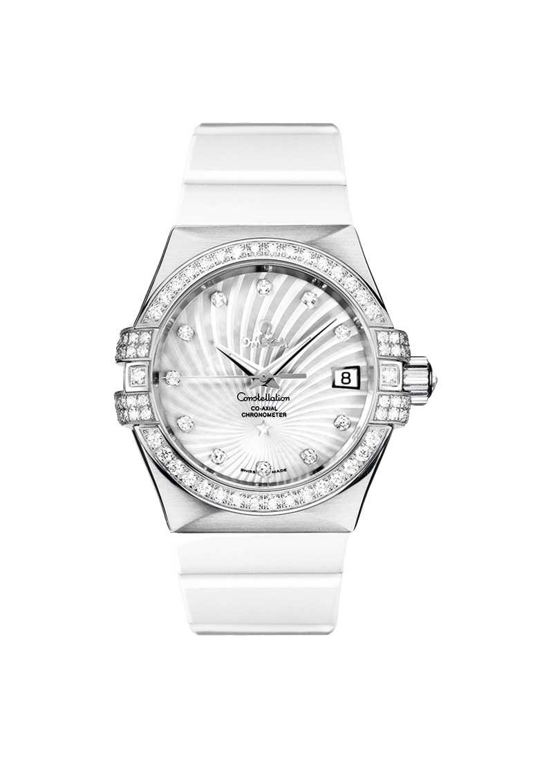 Omega Constellation 35mm in White Gold with Diamond Bezel