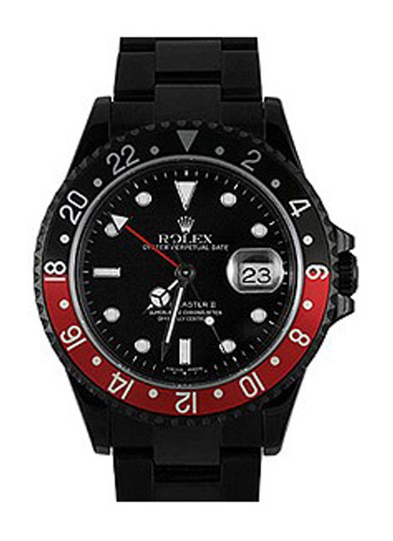 Rolex Used GMT Master II with Black PVD Steel with Coke Bezel