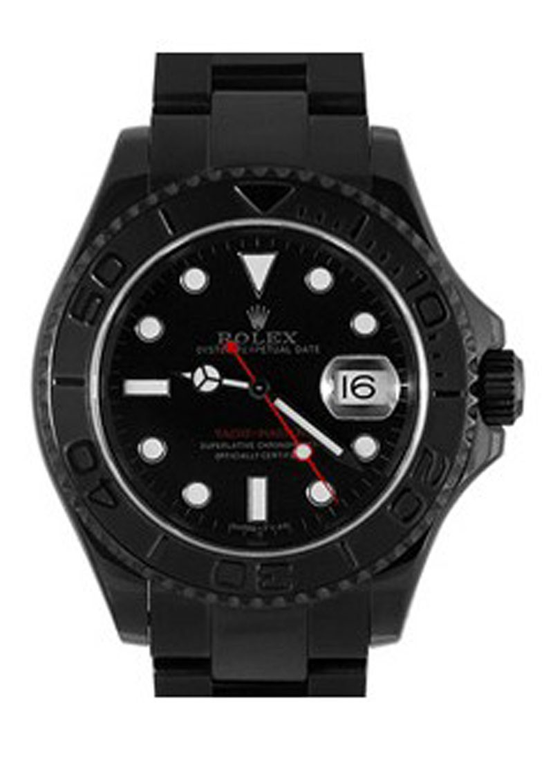 Rolex Used Yachtmaster 40mm in Black DLC Steel with Platinum Bezel