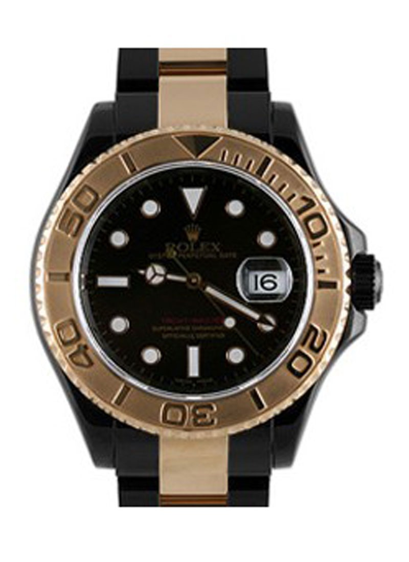 Rolex Unworn Yachtmaster 40mm in Black DLC Steel with Gold Bezel