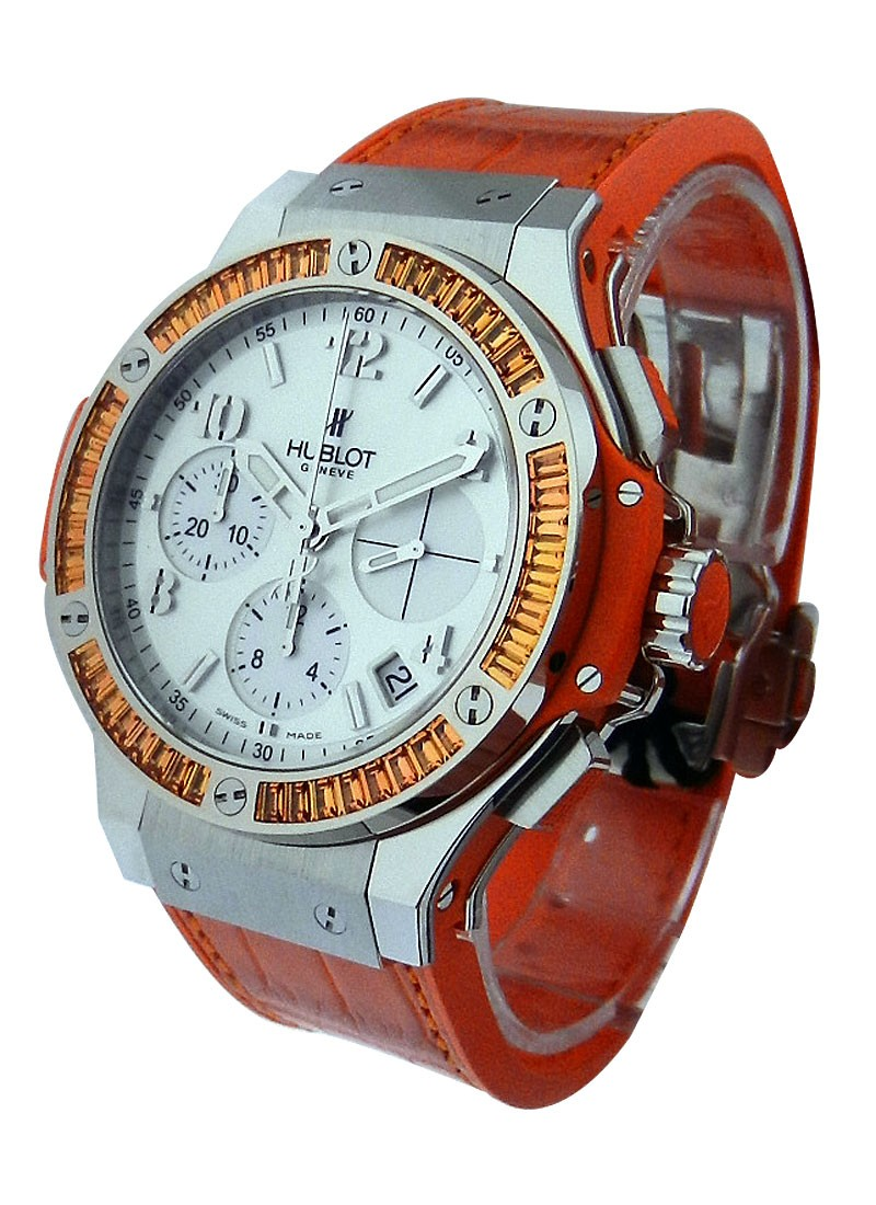 Hublot Big Bang 41mm Tutti Frutti in Steel with Orange Baguette Diamond Bezel