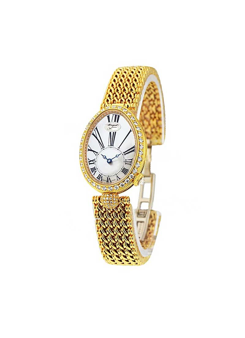 Breguet Reine De Naples 33mm Automatic in Yellow Gold with Baguette Diamond Bezel