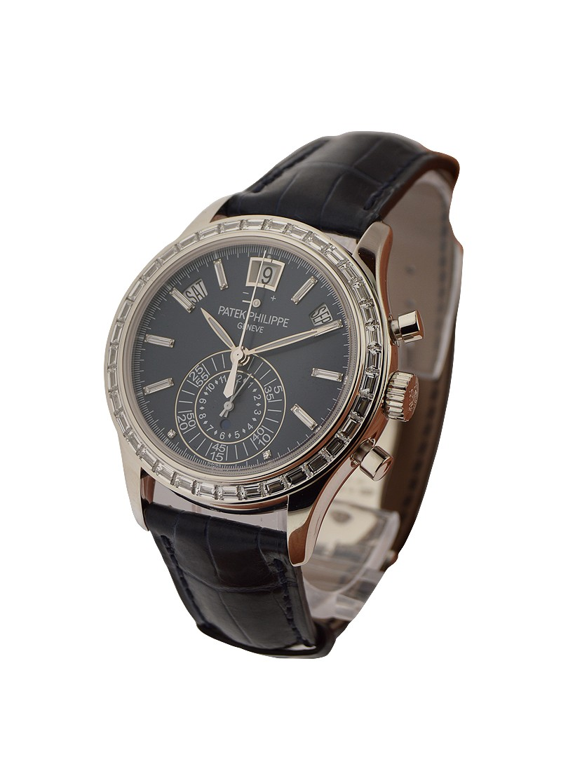 Patek Philippe Annual Calendar Ref 5961P 001in Platinum with Baguette Diamond Bezel