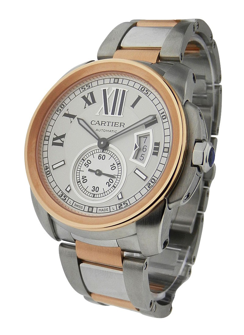 Cartier Calibre de Cartier Automatic in Steel and Rose Gold Bezel