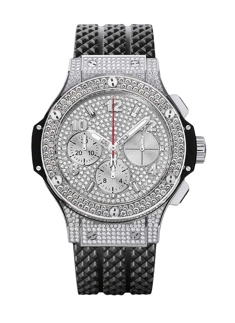 Hublot Big Bang 41mm in Steel with Pave Diamond Bezel