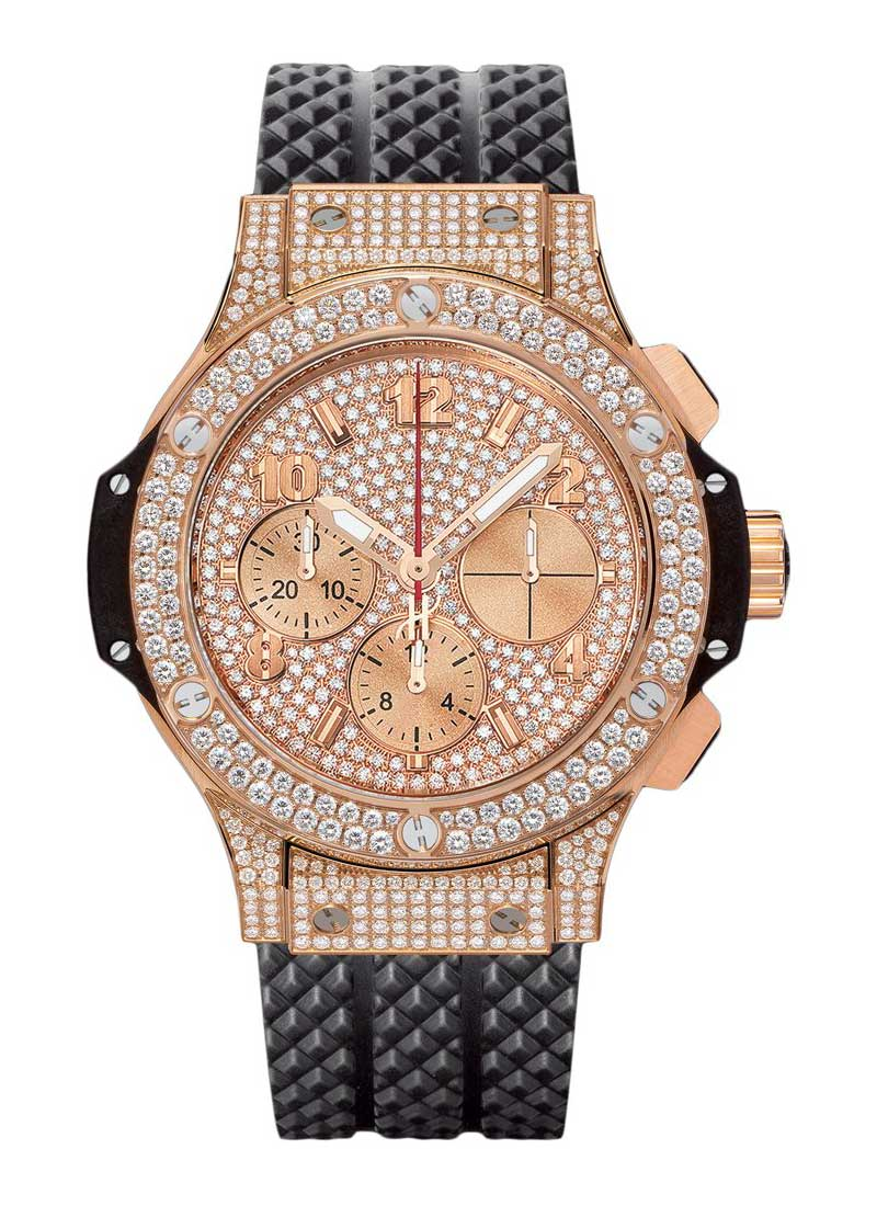 Hublot Big Bang 41mm in Rose Gold with Pave Diamond Bezel