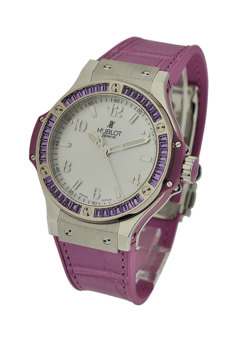 Hublot Big Bang 38mm in Steel with Purple Baguette Diamond Bezel