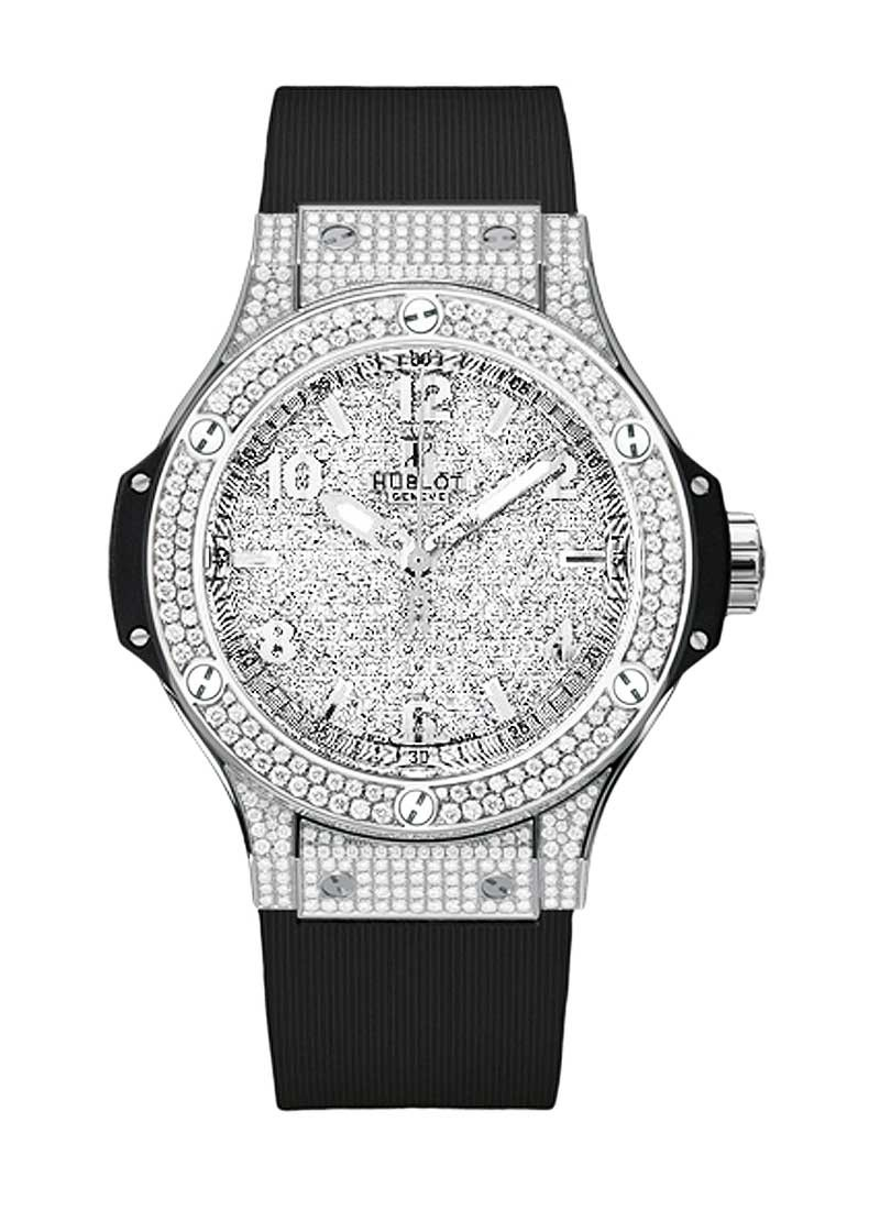 Hublot Big Bang 38mm in Steel with Pave Diamond Bezel