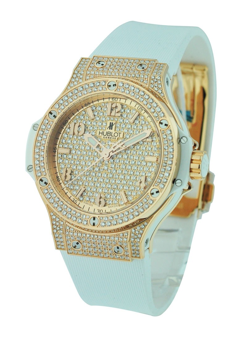 Hublot Big Bang 38mm in Rose Gold with Full Pave Diamond Bezel