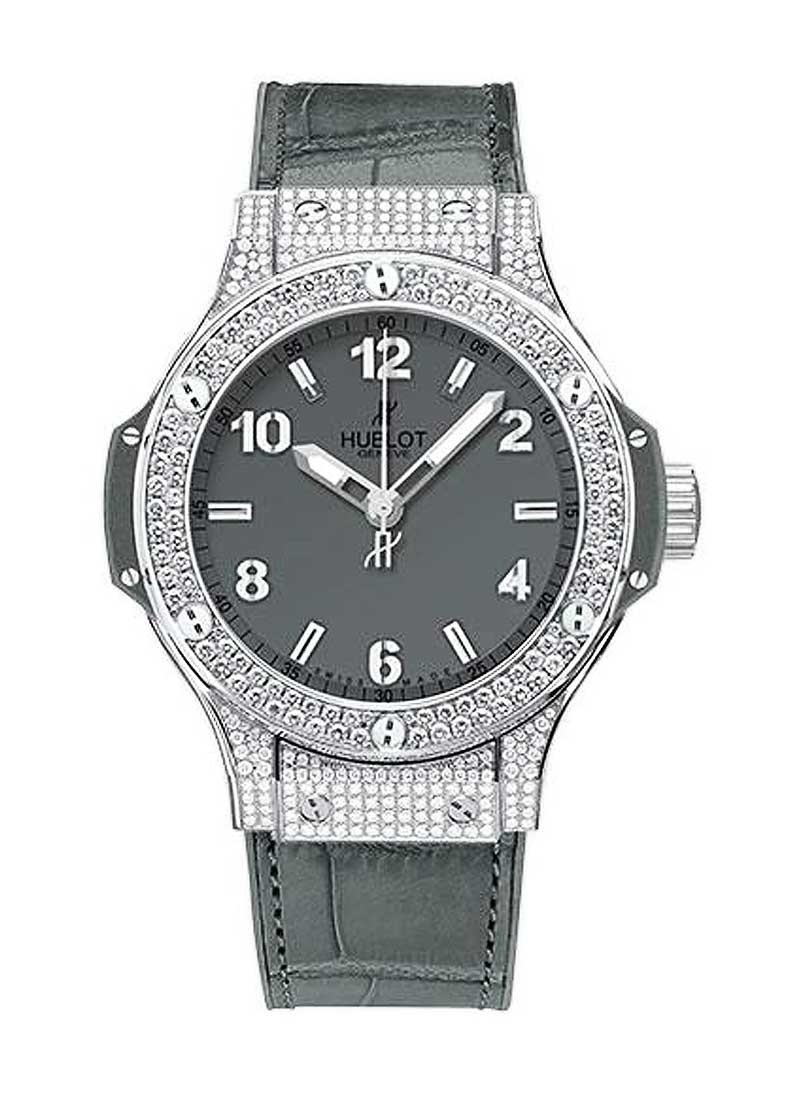 Hublot Big Bang 38mm Earl Gray in Steel with Pave Diamond Bezel