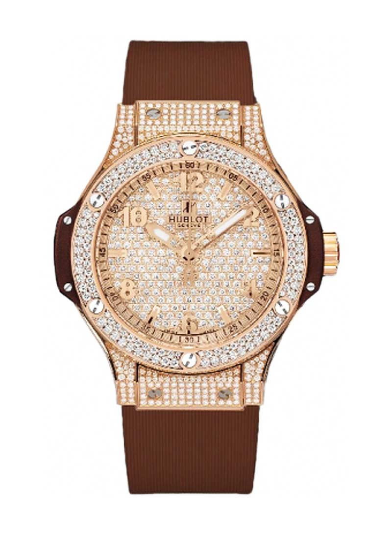 Hublot Big Bang 38mm Cappuccino in Rose Gold with Full Diamond Bezel