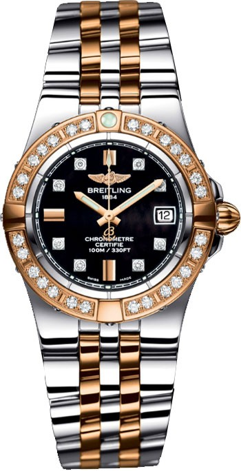 Breitling Galactic 30 Ladies' Quartz in 2 Tone w/ Diamond Bezel