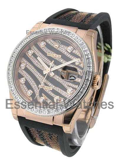 Rolex Unworn Rose Gold Zebra   Royal Pink   Baguette Diamond Bezel