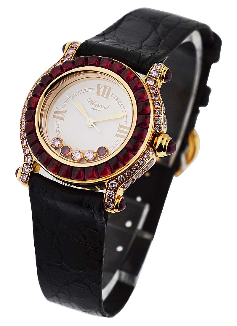 Chopard Happy Sport Round Ladies in Rose Gold with Rubies and Diamond