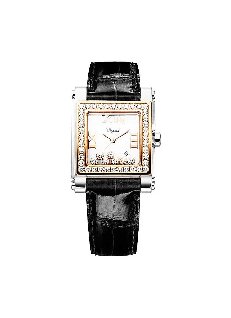 Chopard Happy Sport II Square in Steel with Rose Gold Diamond Bezel