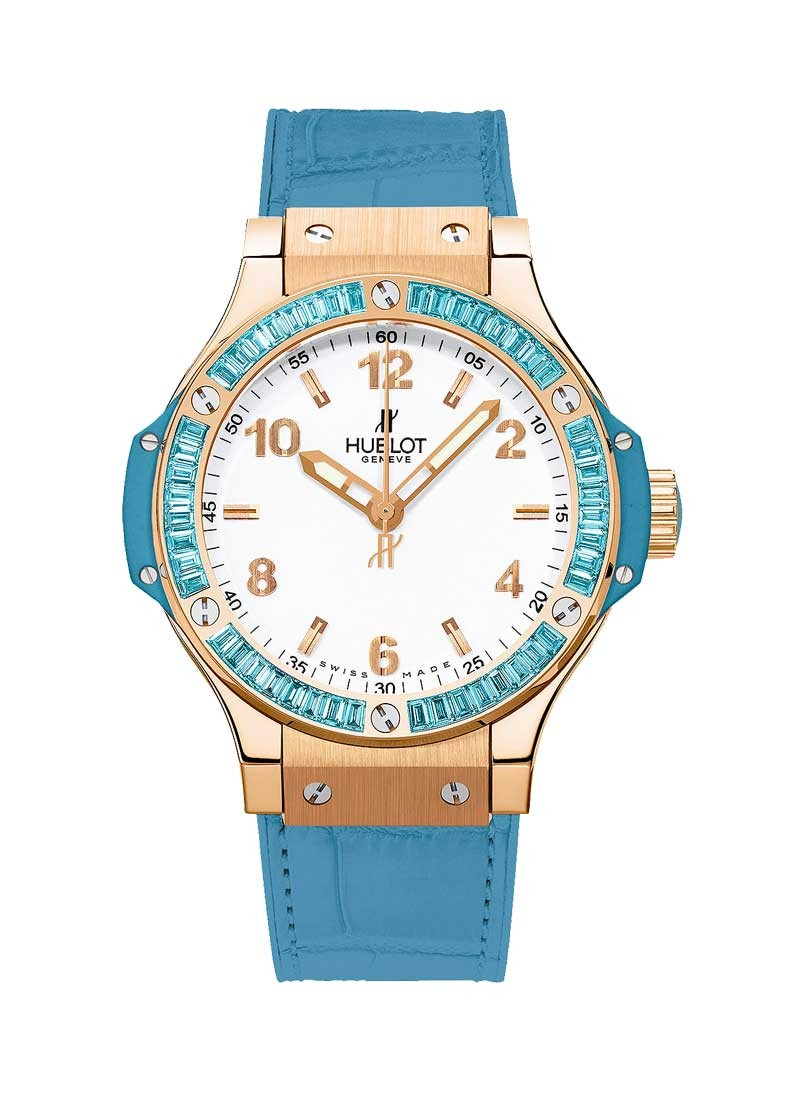 Hublot Big Bang 38mm Tutti Frutti in Rose Gold with Blue Topaz Baguette Diamond Bezel