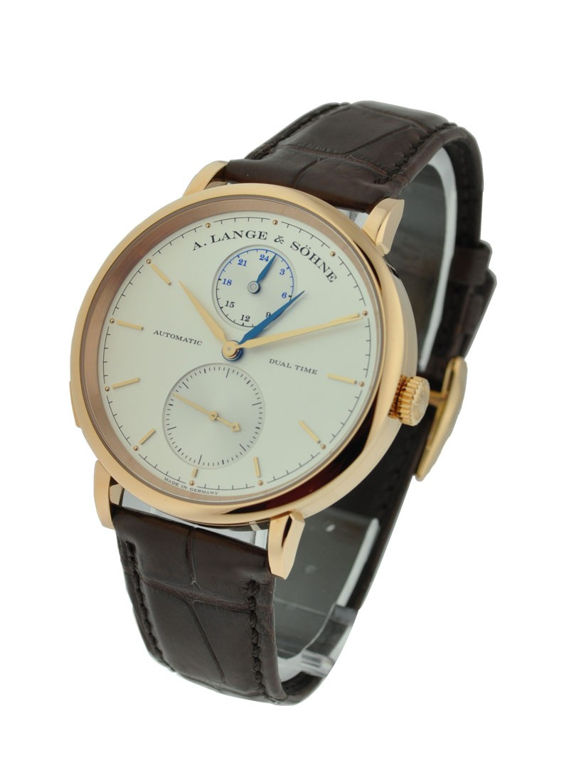 A. Lange & Sohne Saxonia Dual Time Mens in Rose Gold