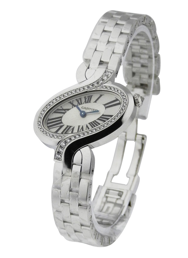 Cartier Delices de Cartier Small Size in White Gold with Diamond Bezel