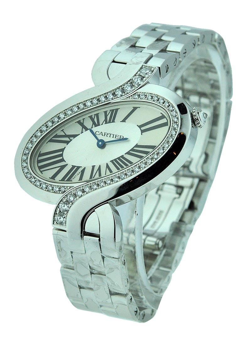 Cartier Delices de Cartier in White Gold with Diamond Bezel   Large Size