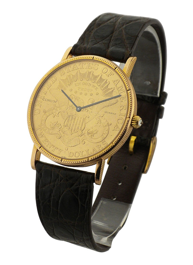 Corum $20 Gold Coin Quartz in Yellow Gold