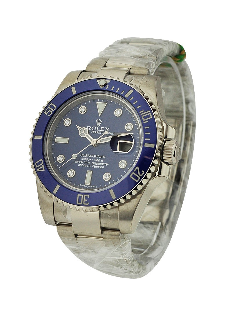 Rolex Unworn White Gold Submariner with Blue Diamond Dial