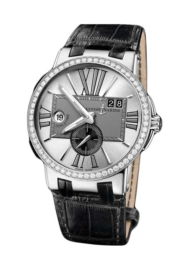 Ulysse Nardin Executive Dual Time 43mm in Steel with Diamond Bezel