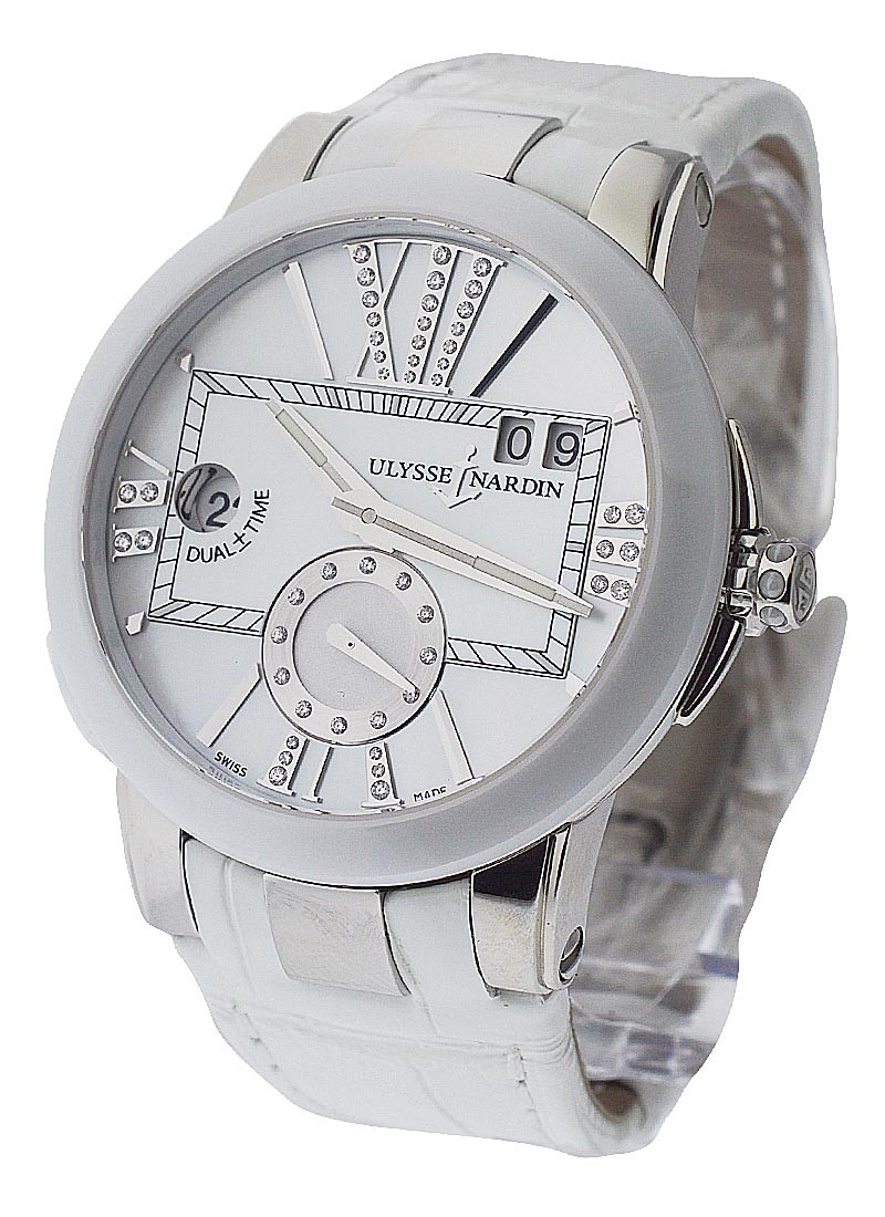 Ulysse Nardin Executive Dual Time Ladies in Steel with White Ceramic Bezel