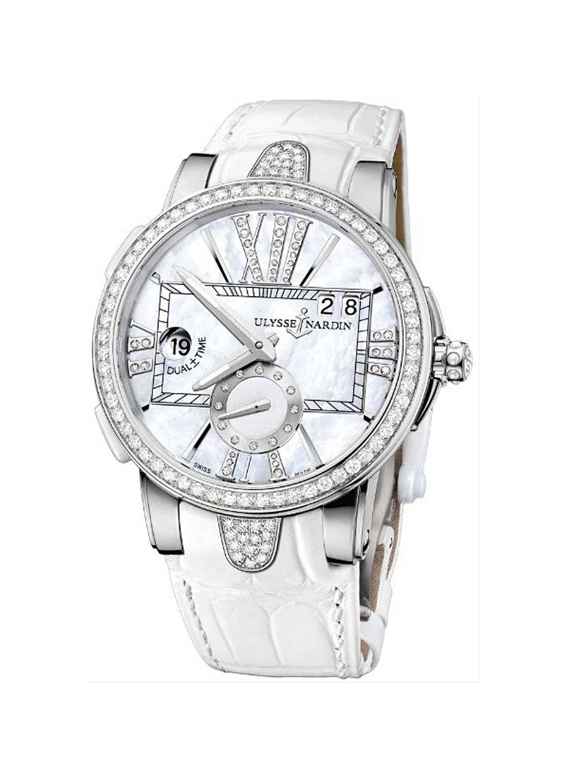 Ulysse Nardin Executive Dual Time 40mm in Steel with Diamond Bezel