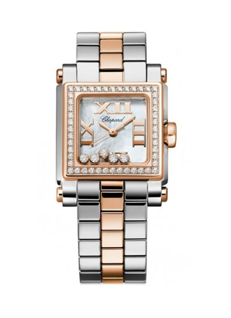 Chopard Happy Sport II Square Small in Steel with Rose Gold Diamond Bezel