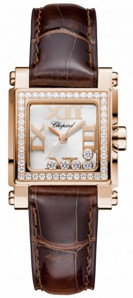 Chopard Happy Sport II Square Small in Rose Gold with Diamond Bezel
