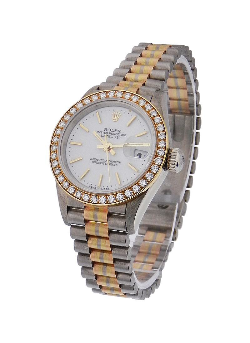 Rolex Used Tridor President Lady with Factory Diamond Bezel