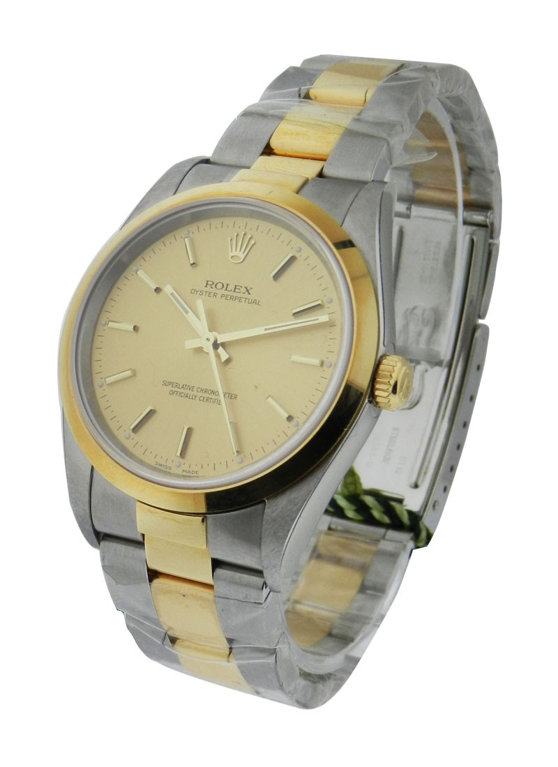 Rolex Unworn Oyster Perpetual No Date in Steel with Yellow Gold Smooth Bezel