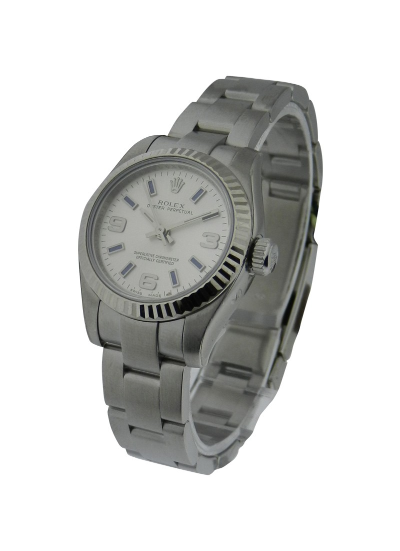 Rolex Unworn No Date Oyster Perpetual in Steel with Fluted Bezel