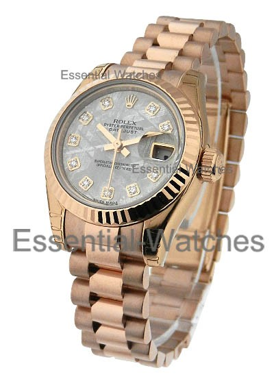 Rolex Unworn Rose Gold Ladies President with Meteorite Daimond Dial