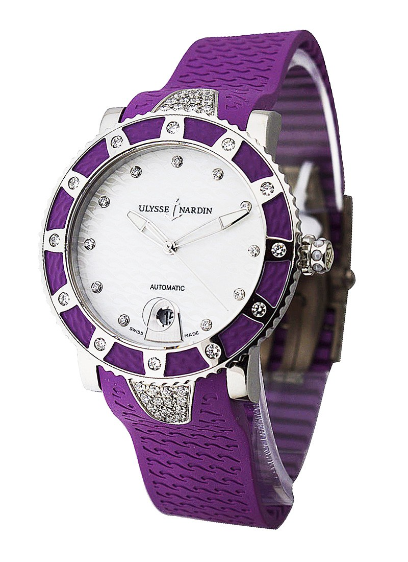 Ulysse Nardin Lady Diver in Steel with Purple Diamond Bezel