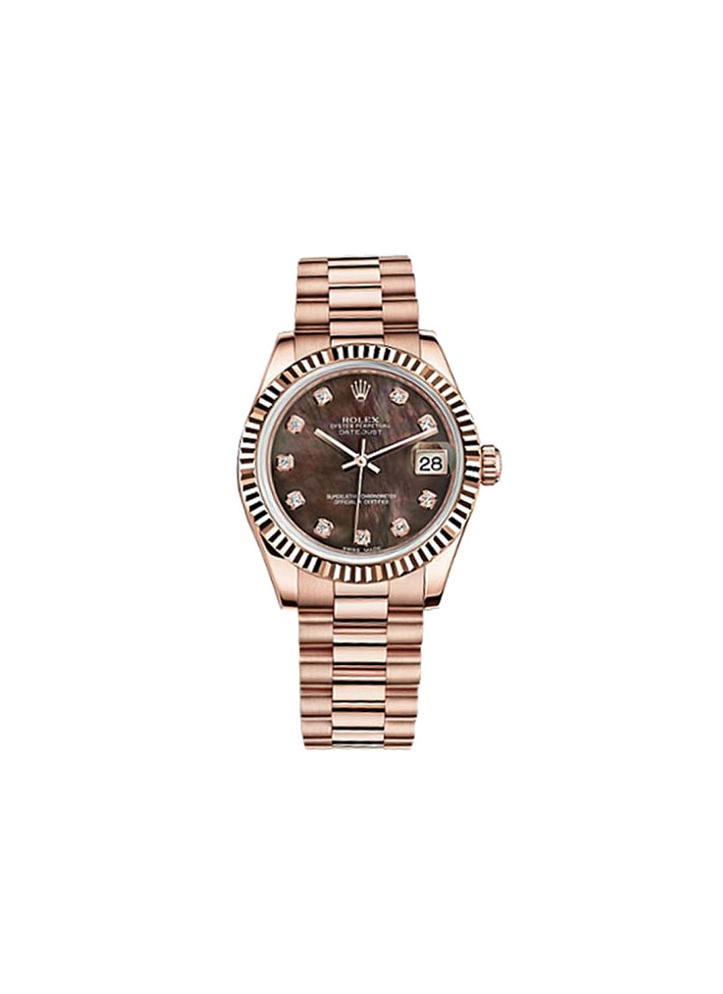 Rolex Unworn Datejust Mid Size 31mm in Rose Gold with Fluted Bezel
