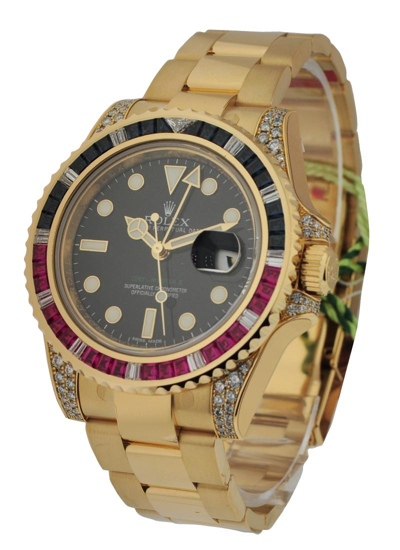 Rolex Unworn GMT Master II in Yellow Gold with Ruby Diamond Bezel and Lugs