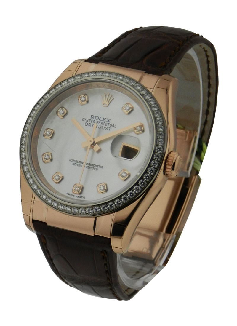 Rolex Unworn Rose Gold 36mm Datejust on Black Leather Strap