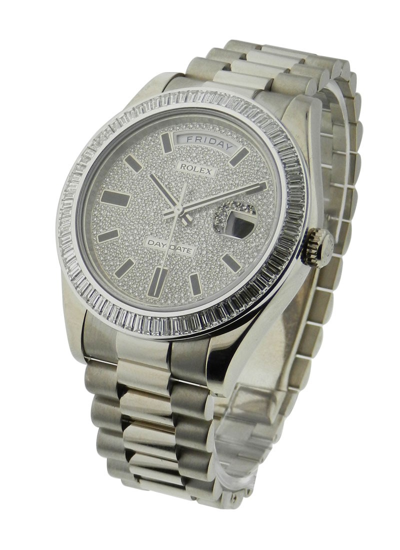 Rolex Used President Day Date 41mm in White Gold with Baguette Diamond Bezel