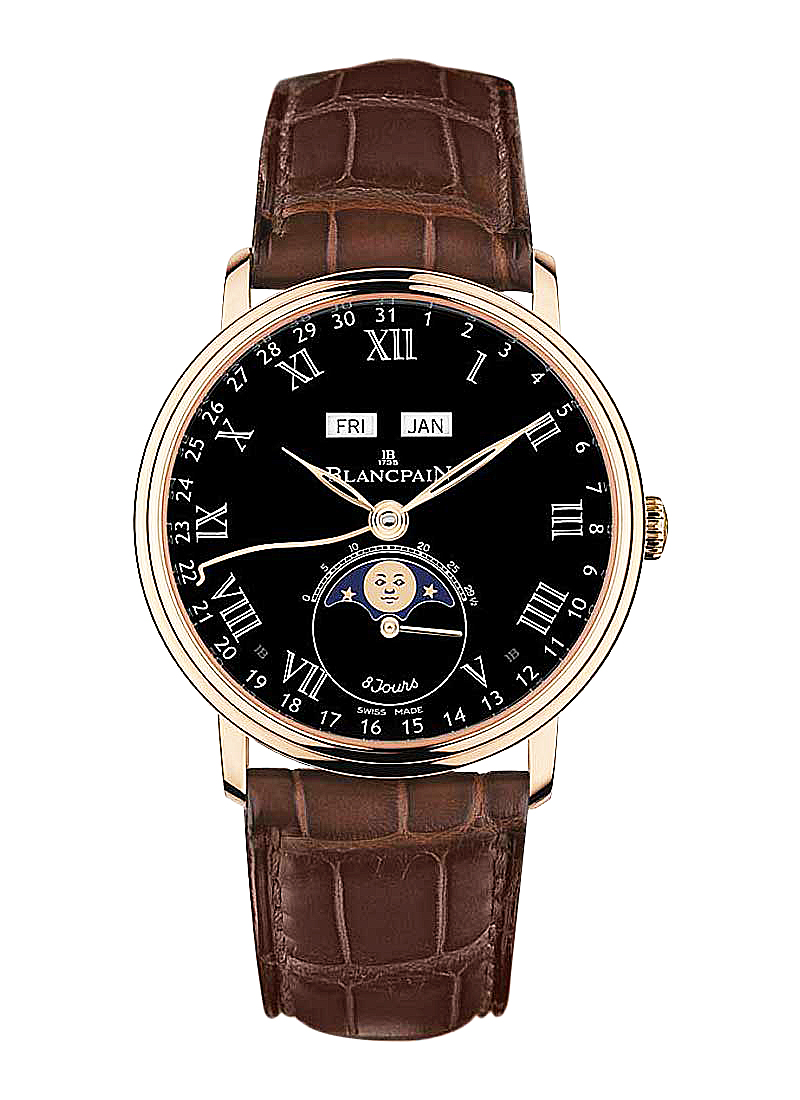 Blancpain Villeret 8 Day Moon Phase and Complete Calendar 42mm Automatic in Rose Gold