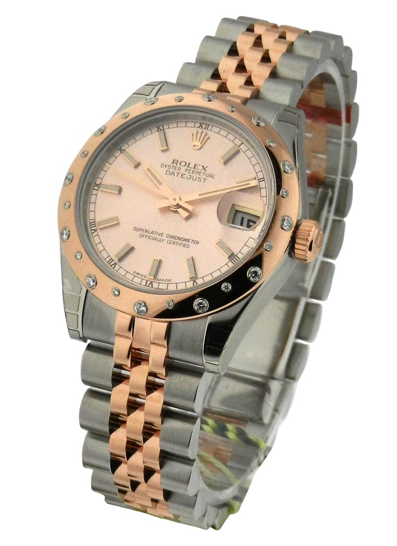 Rolex Unworn Datejust in Steel with Rose Gold Diamond Domed Bezel