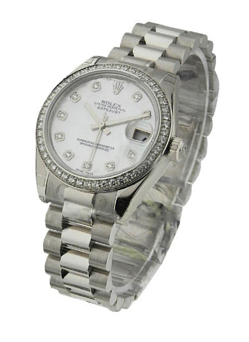 Rolex Unworn Datejust Mid Size President in Platinum with Diamond Bezel