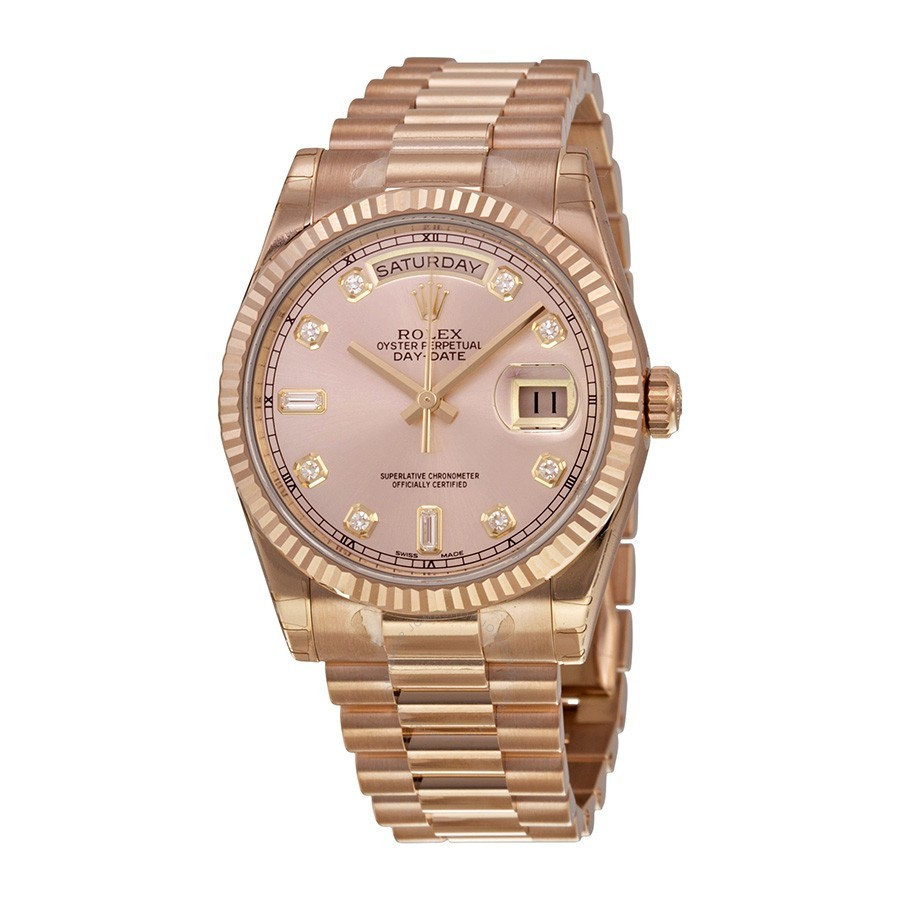 Rolex Unworn President Date in Rose Gold with Fluted Bezel