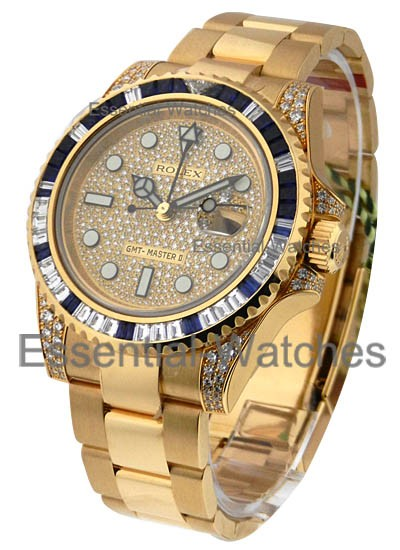 Rolex Unworn GMT Master II Yellow Gold with Pave Diamond Dial