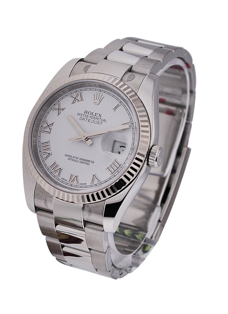 Rolex Unworn  Mens Datejust in Steel with White Gold Fluted Bezel