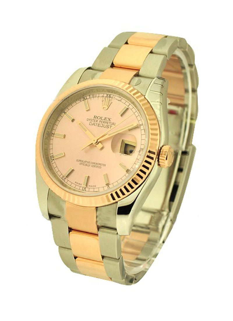 Rolex Unworn Datejust in Steel with Rose Gold Fluted Bezel