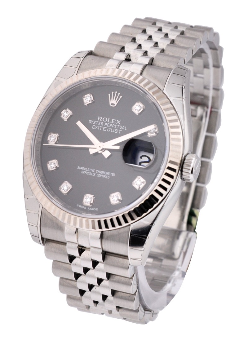 Rolex Unworn Datejust 36mm in Steel with White Gold Flueted Bezel